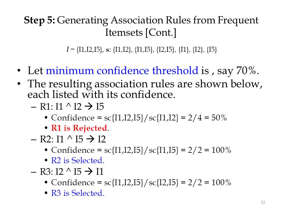 Step 5: Generating Association Rules from Frequent Itemsets [Cont.]